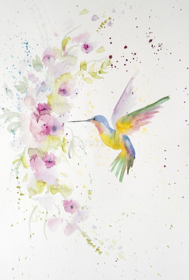 Watercolor painting of hummingbird. Handmade royalty free stock photo