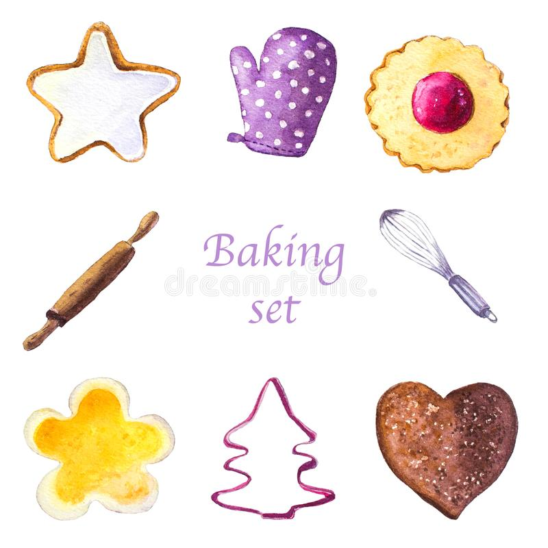 Watercolor set of cookies and baking tools royalty free stock photography
