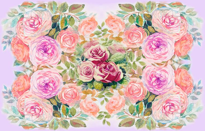 Watercolor painting illustration flowers stock illustration