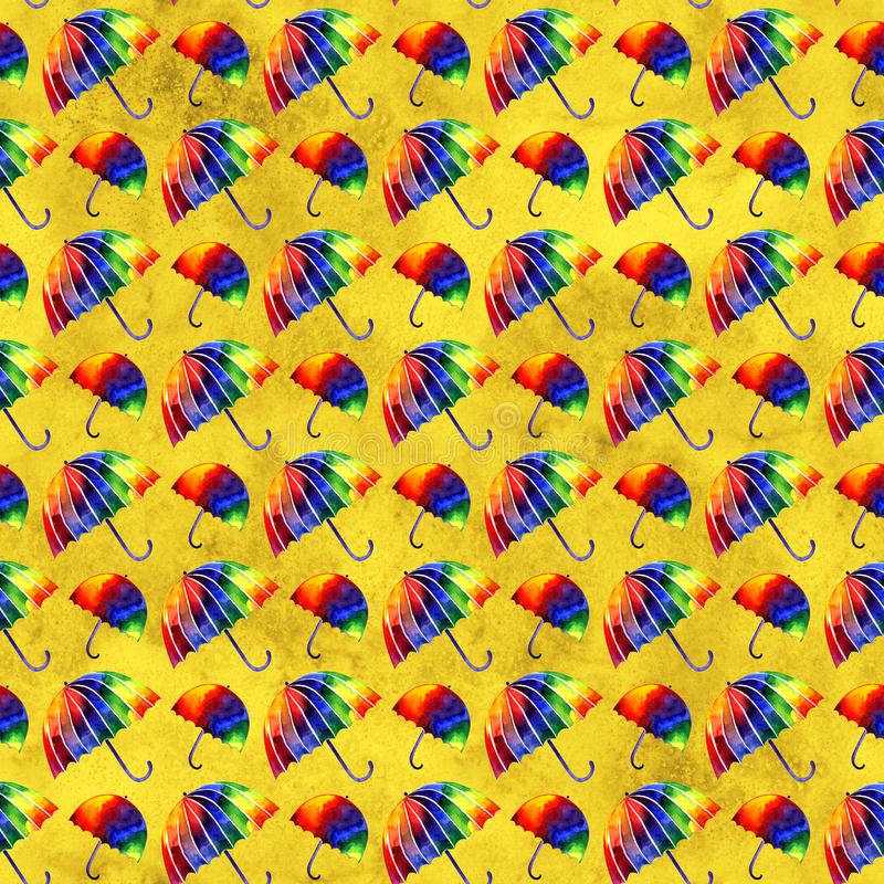 Watercolor painting illustration rainbow umbrella. Seamless repeating pattern. A colorful image. Hand-drawn picture. A stock illustration