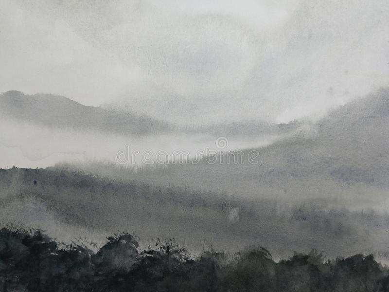 Watercolor ink landscape mountain fog. traditional oriental ink asia art style.hand drawn on paper. stock illustration