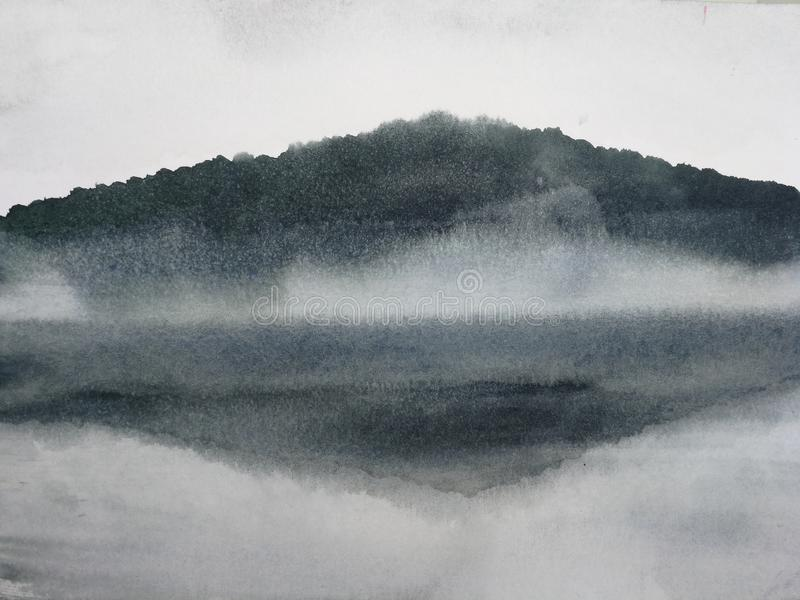 Watercolor painting ink landscape mountain reflect river in the fog. vector illustration