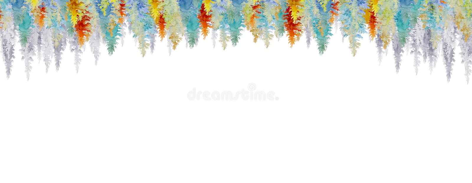 Watercolor painting, isolated the flora background vector illustration
