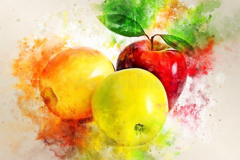 Watercolor painting of juicy ripe apples. Still life stock illustration