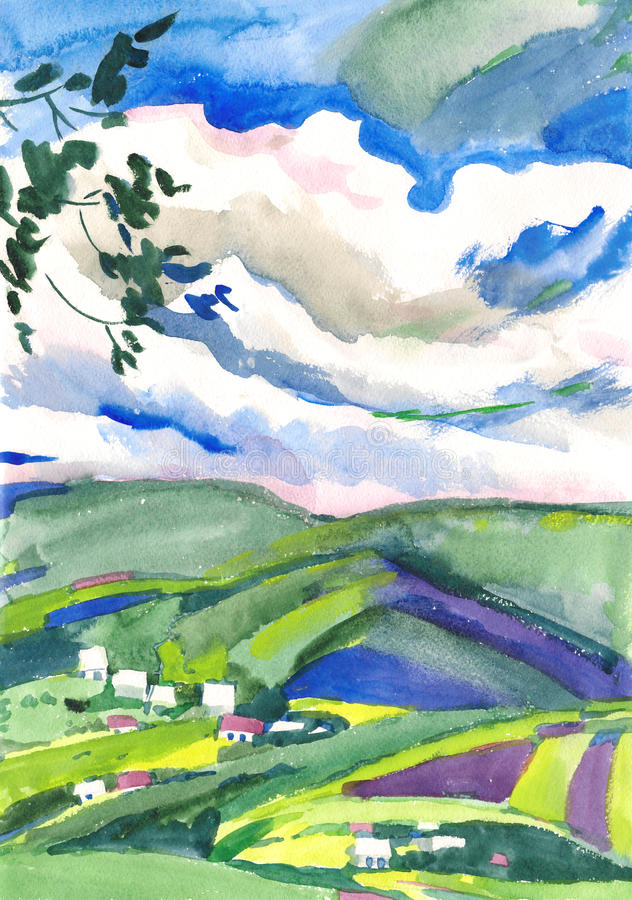 Watercolor painting landscape royalty free stock image