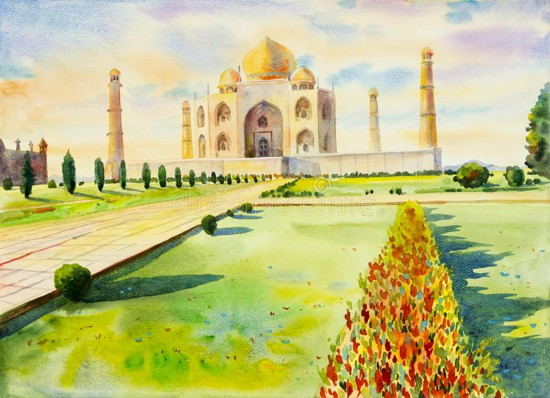Watercolor painting landscape of archaeological site in the Taj mahal. Watercolor painting landscape of archaeological site in the Taj Mahal view, with flowers stock image