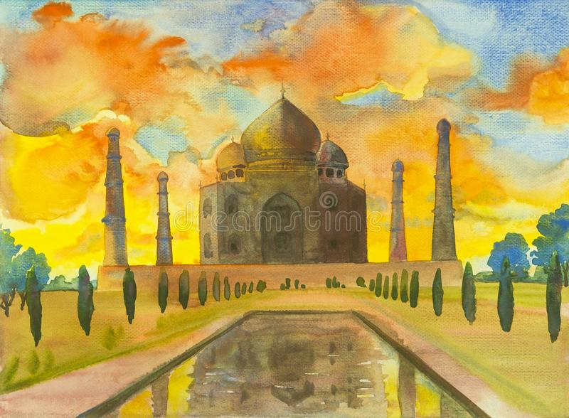 Watercolor painting landscape of archaeological site in the Taj Mahal. Watercolor painting landscape of archaeological site in the Taj Mahal view, with flowers vector illustration