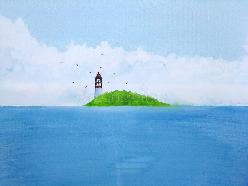 Watercolor painting landscape blue sea lighthouse vector illustration