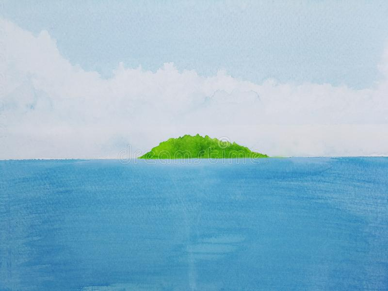 Watercolor painting landscape sea with green island. stock illustration