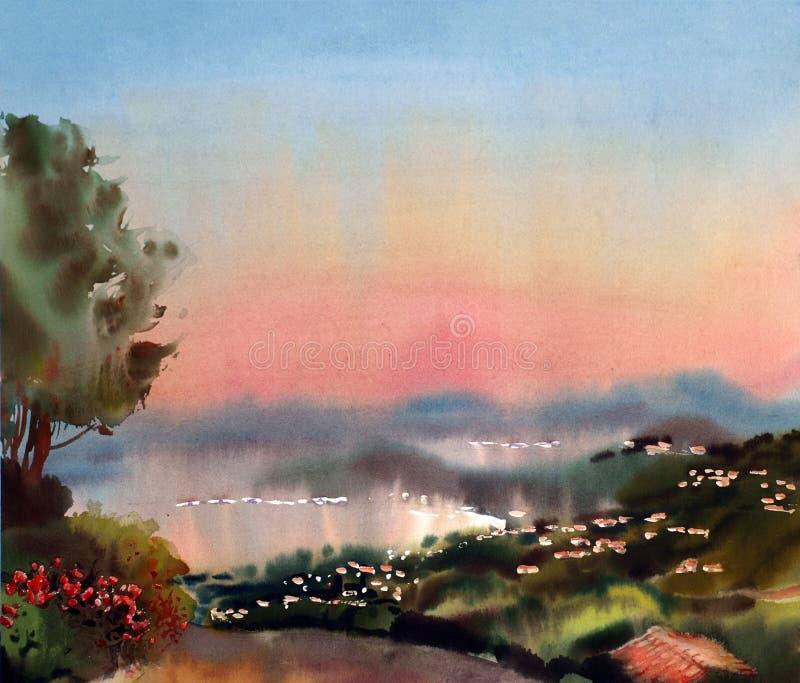 Watercolor painting landscape stock illustration