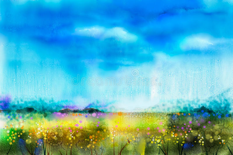 Watercolor painting landscape, wildflower and blue sky. Abstract wild flower paint in the meadows. Hand painted Yellow and Red flowers in field. Spring flower vector illustration