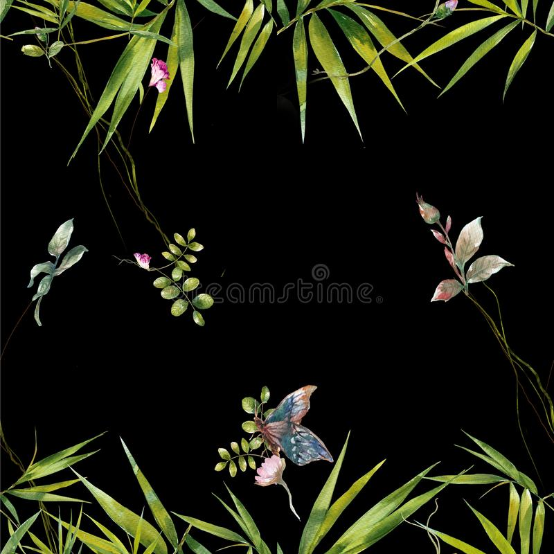 Watercolor painting of leaf and flowers, seamless pattern on dark stock images