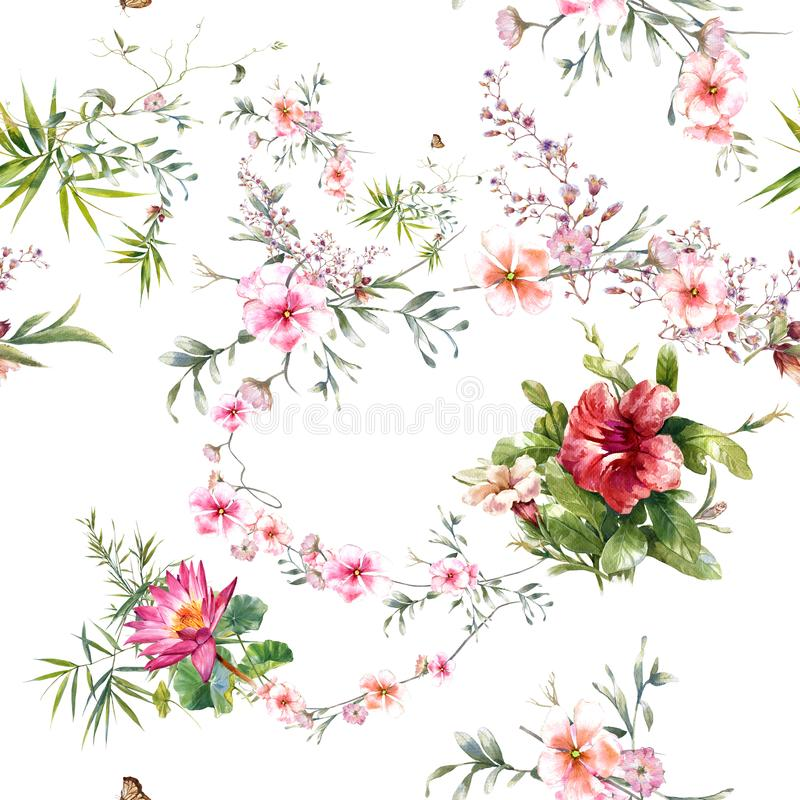 Watercolor painting leaf and flowers, seamless pattern on white background. Watercolor painting of leaf and flowers, seamless pattern on white background royalty free illustration
