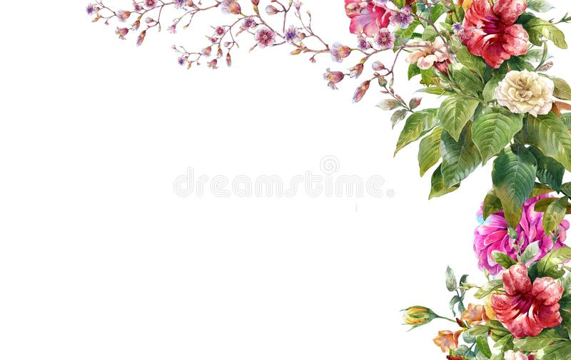 Watercolor painting of leaves and flower, on white. Background vector illustration