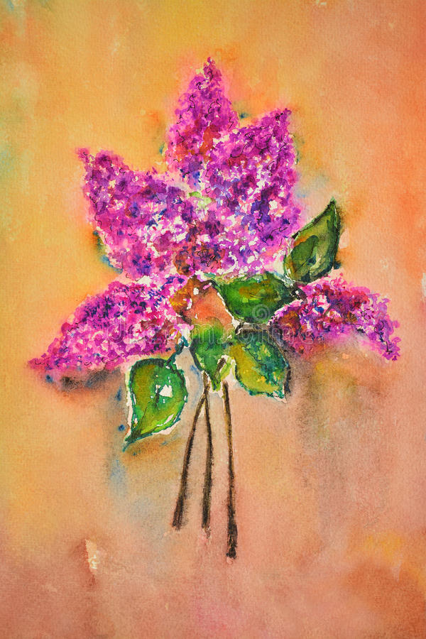 Watercolor painting, lilac stock illustration