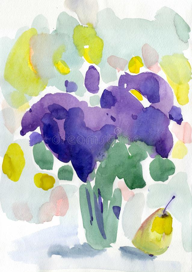 Watercolor painting lilac spring  flowers royalty free illustration
