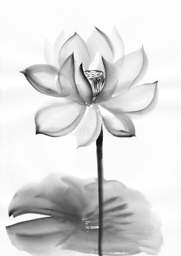 Asian Style Painting Black And White Landscape Flowers