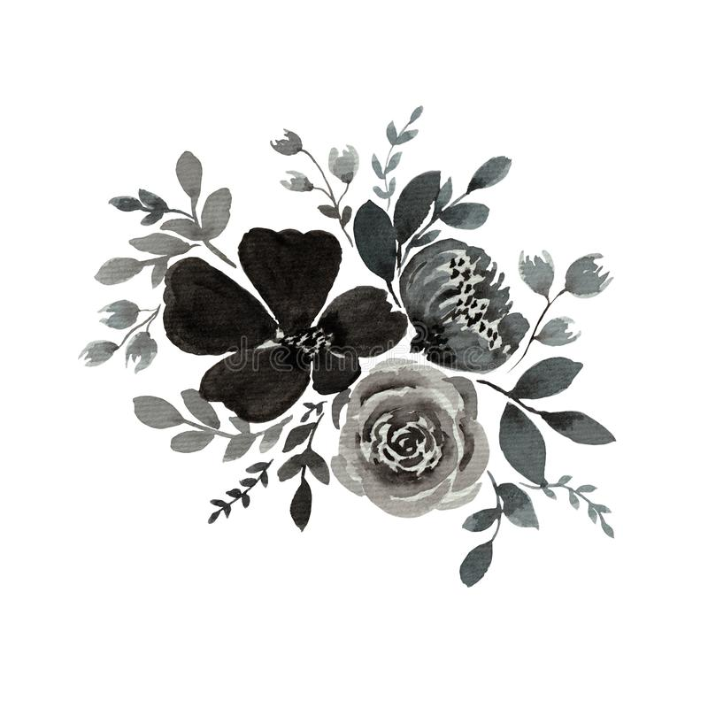 Watercolor painting of monochrom flower bouquet isolated on white, floral illustration with gray flowers, buds and leaves, botanic stock illustration