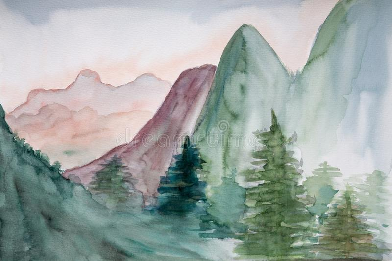 Watercolor Painting Of Mountain Landscape royalty free stock image