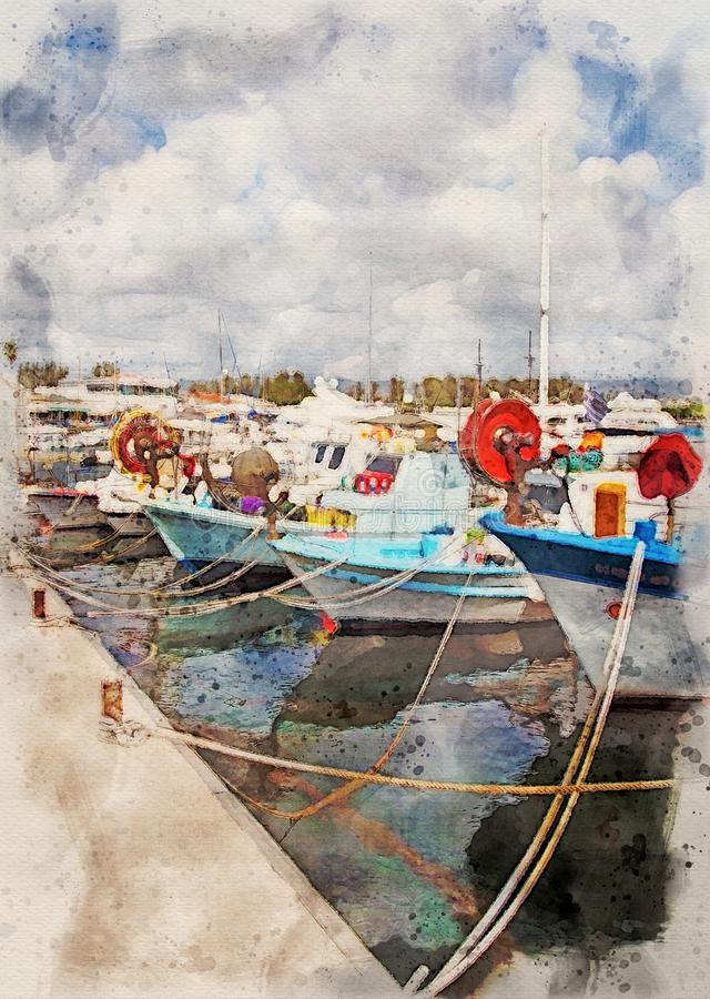 Free Watercolor Painting Of Colourful Traditional Fishing Boats Moored In The Harbour In Paphos Cyprus Stock Image - 160396001