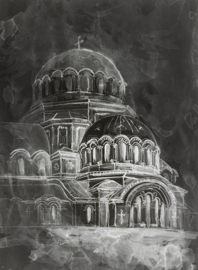 Free Watercolor Painting Of Old Temple Royalty Free Stock Images - 54065999