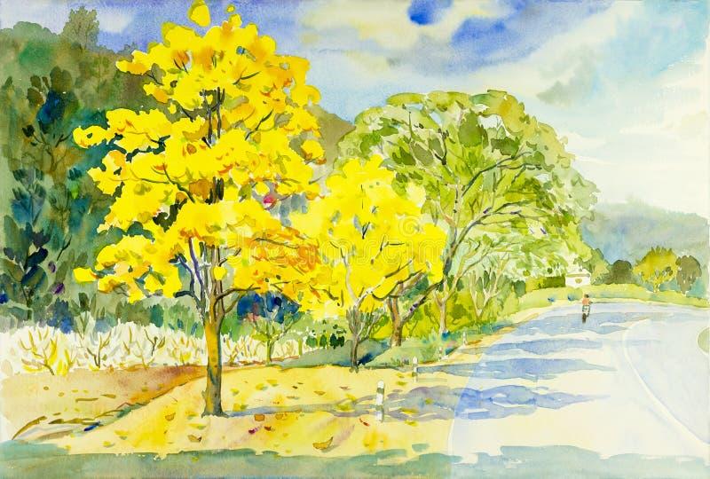 Watercolor painting original landscape yellow color of golden tree download watercolor painting original landscape yellow color of golden tree flower stock illustration illustration of mightylinksfo