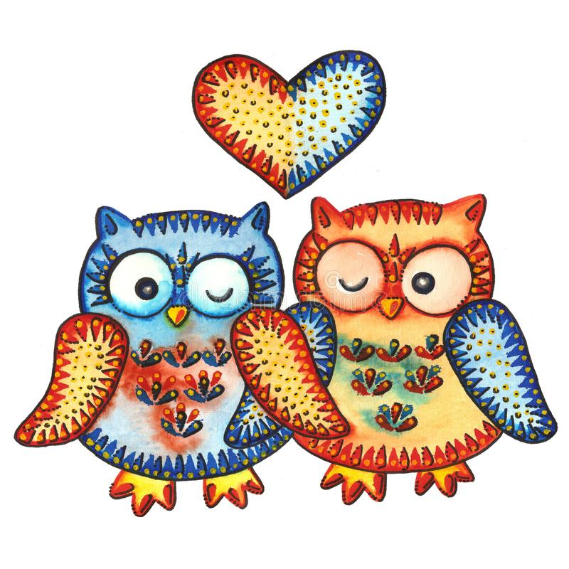 OWL / LOVE. A watercolor painting `OWL / LOVE`. Watercolor and marker stock illustration