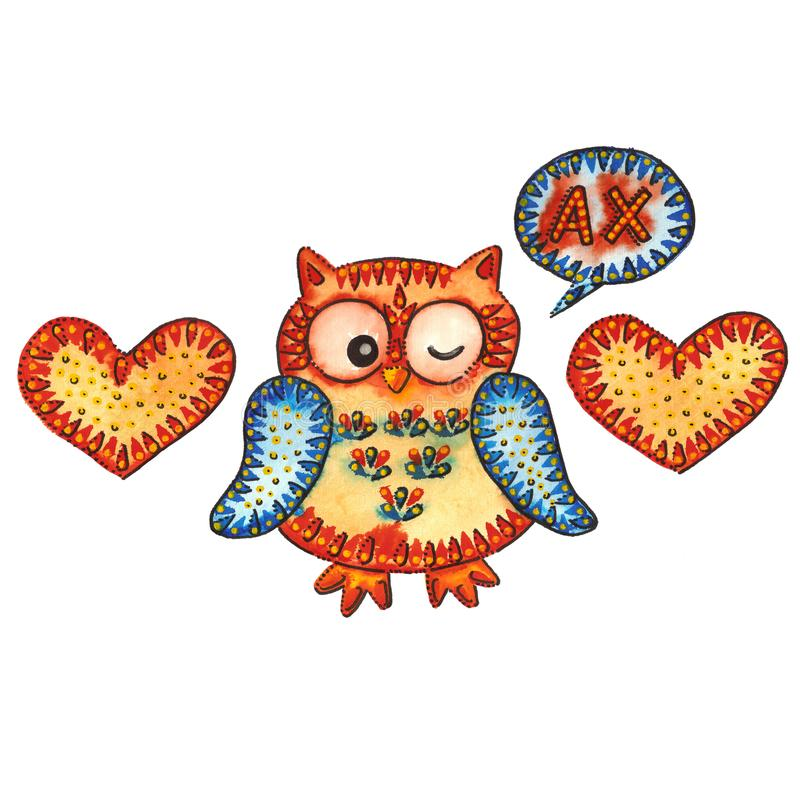 OWL / UH. A watercolor painting `OWL / UH`. Watercolor and marker vector illustration