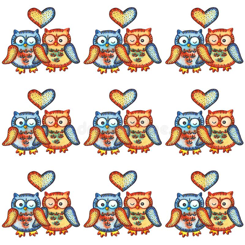 OWLS / LOVE. A watercolor painting `OWLS / LOVE`. nWatercolor and marker royalty free illustration