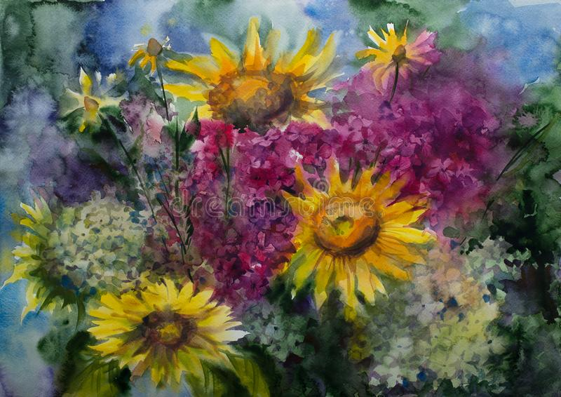 Watercolor painting picture drawing of bouquet flowers. Painting picture watercolor. bouquet still life, sunflowers and hydrangeas stock illustration