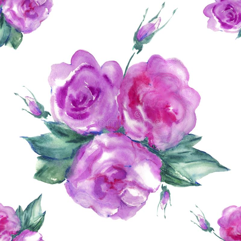 Watercolor painting pink flowers royalty free stock photography
