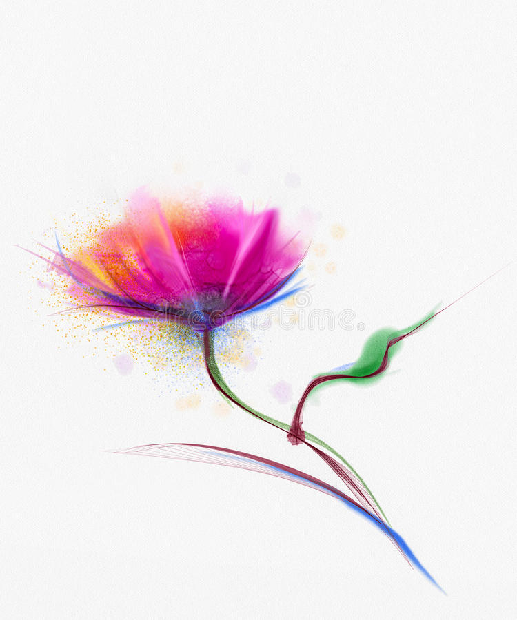 Watercolor painting poppy flower. flowers on white paper background stock illustration