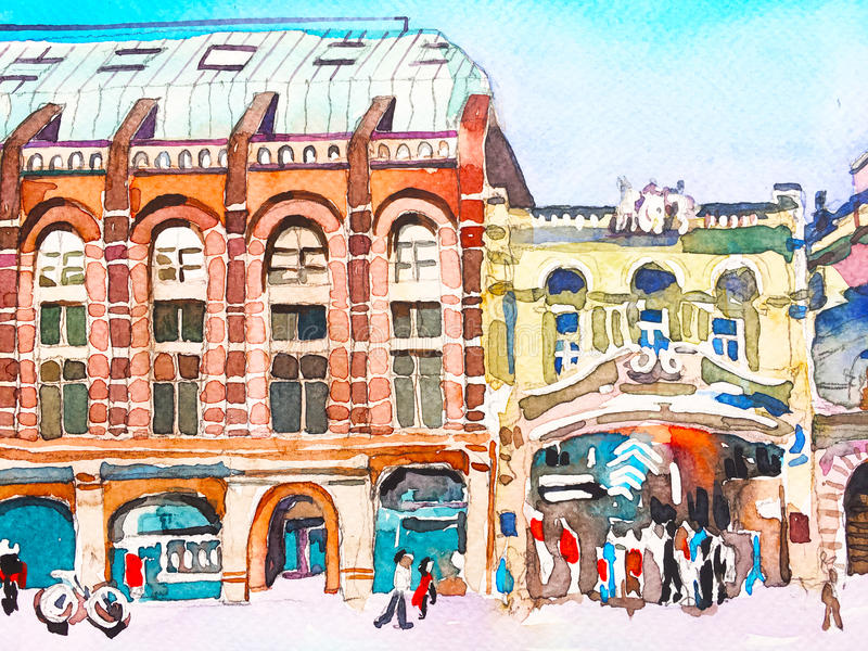 watercolor painting poster of Piccadilly street of London, sketc royalty free illustration