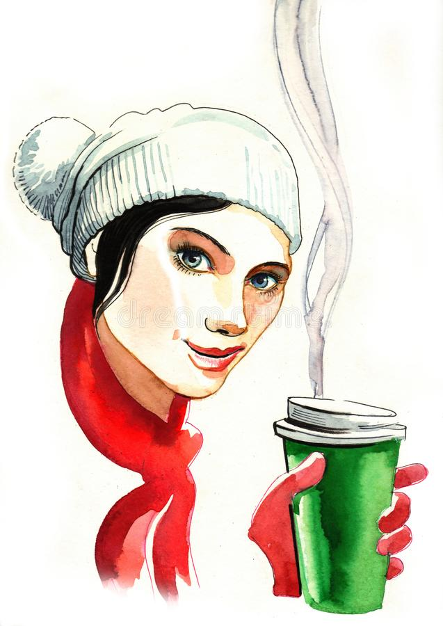 Girl with a coffee cup royalty free illustration