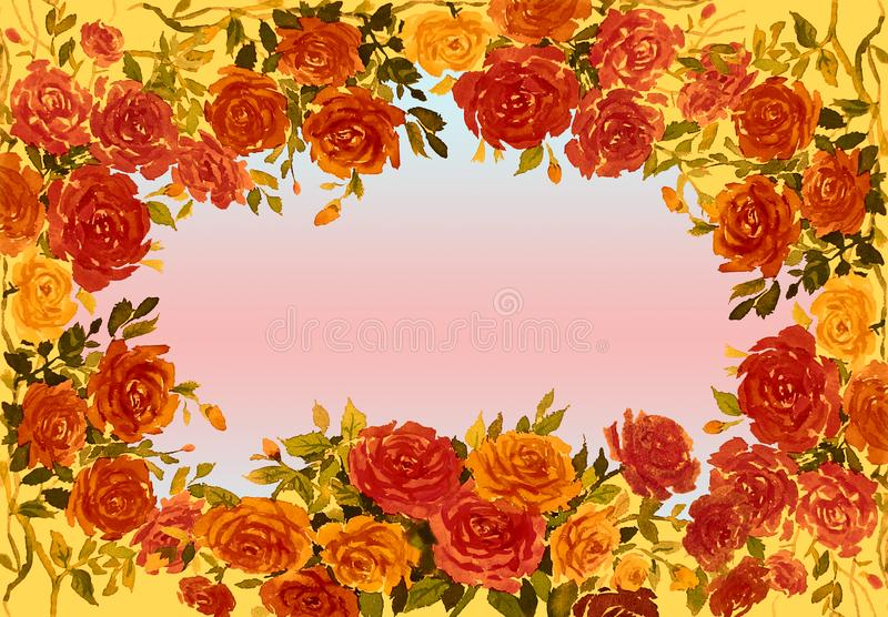 Roses flower with vintage Valentine day. Watercolor painting red,yellow,orange color of roses flower with vintage Valentine day, greeting cards in soft vector illustration