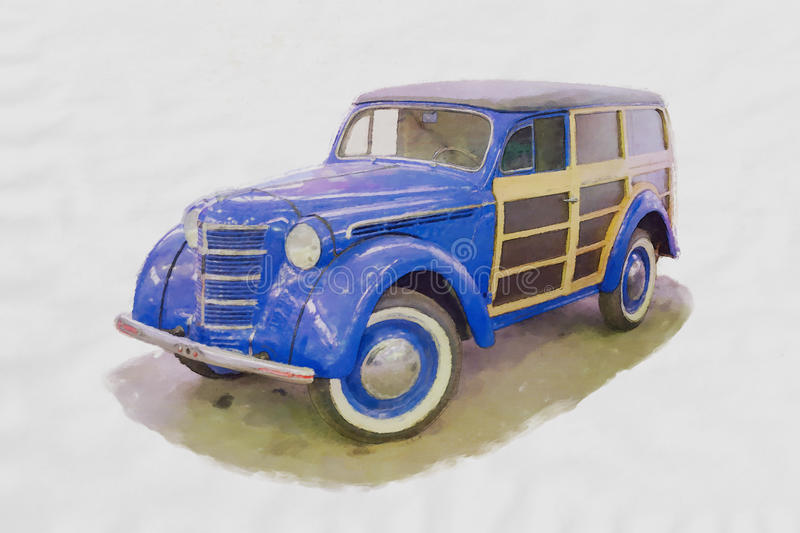 Watercolor painting of a retro car stock photography