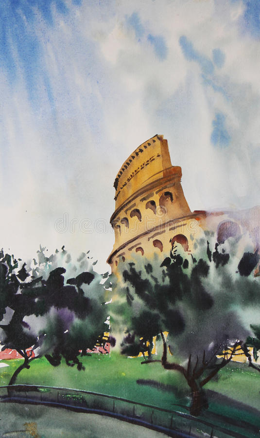 Download Watercolor Painting Of Rome Stock Illustration - Image: 22388340