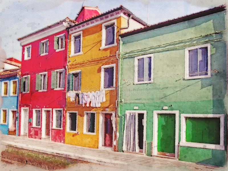 Watercolor painting of a row of colorful houses along a canal in Burano Venice. A watercolor painting of a row of colorful houses along a canal in Burano Venice stock illustration