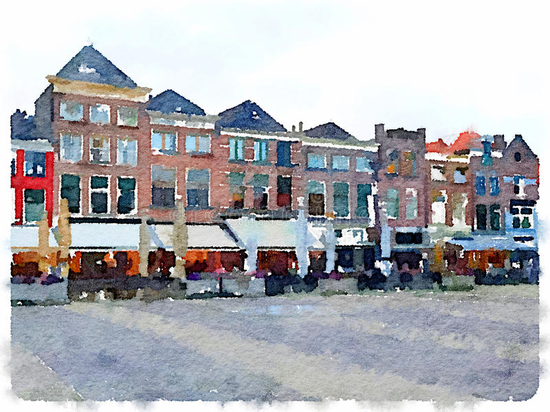 Watercolor painting of row of houses in Delft in the Netherlands stock illustration