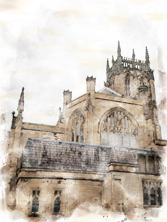 A watercolor painting side view of leeds minster with tower. A watercolor painting style side view of leeds minster with tower stock photos