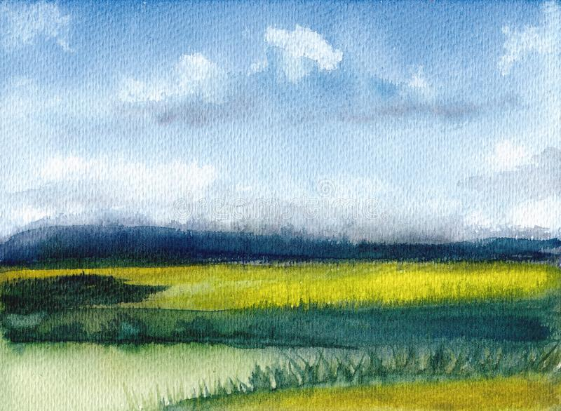 Watercolor painting of summer landscape with mountains, blue sky, clouds, green glade. Abstract hand painted background. Textured vector illustration