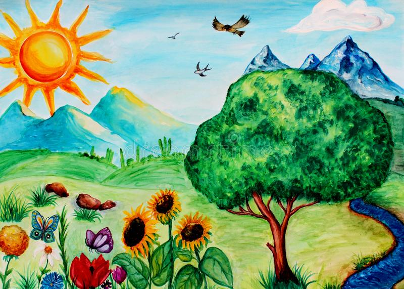 Watercolor painting of summer landscape, watercolor nature background,hand drawn landscape vector illustration