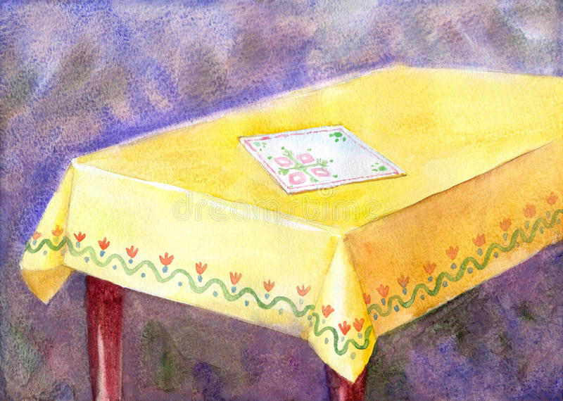 Watercolor painting table with yellow cloth and an embroidered n vector illustration
