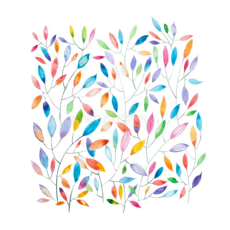 Watercolor painting of thin tree branches with multicolored leaves royalty free illustration