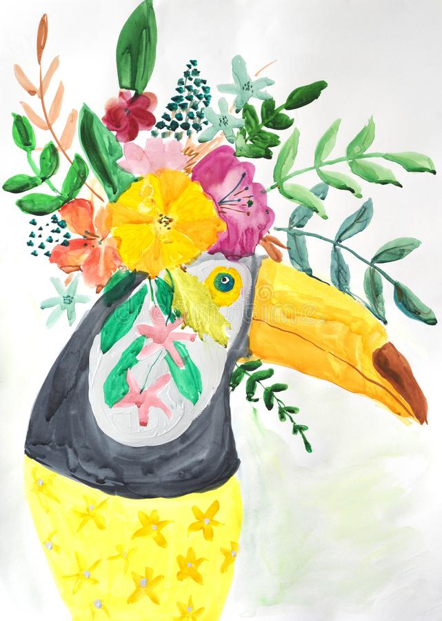 Watercolor painting of toucan. With flowers stock illustration