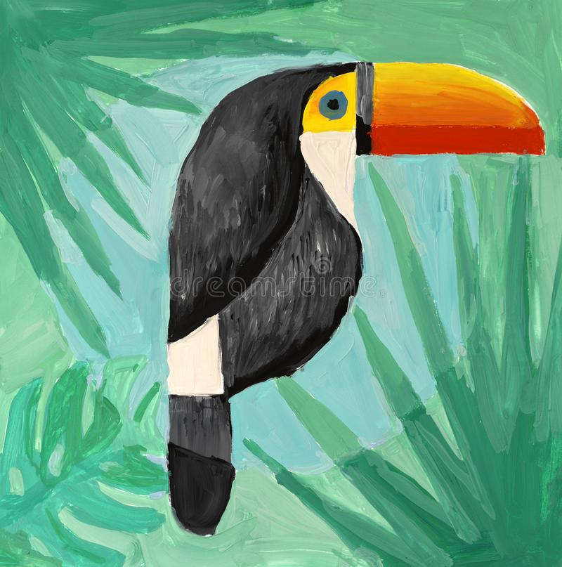 Watercolor painting of toucan. On green background stock illustration