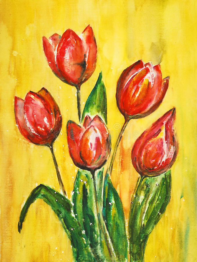 how to draw a bouquet of tulips