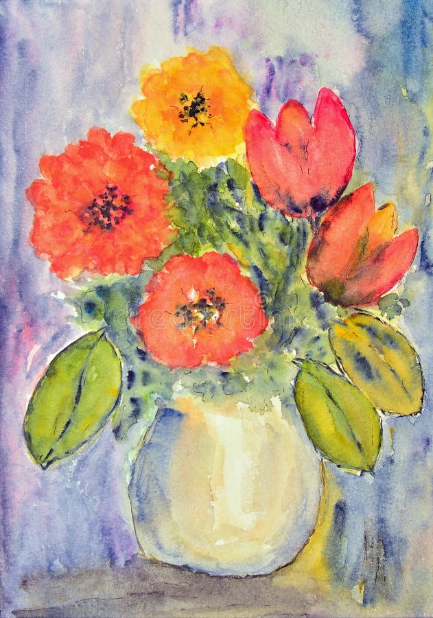 Watercolor painting, tulips stock illustration