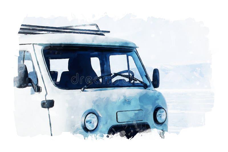 Watercolor painting of van on white background, soft blue shades image, digital art illustration. Travel background image royalty free stock photos