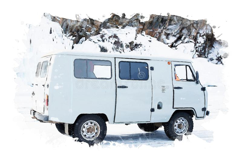 Watercolor painting of van on white background, soft gray shades image, digital art illustration. Travel background image royalty free stock photography